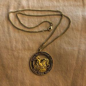 """Crazy Horse Memorial Medallion Necklace 18"""""""